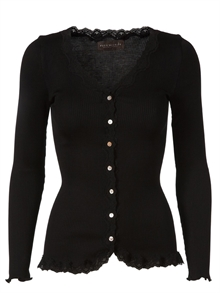 Rosemunde cardigan, vintage blonde i silke-mix - black