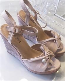 91f2e4dee36 Ally wedges med kilehæl sko med perle - beige